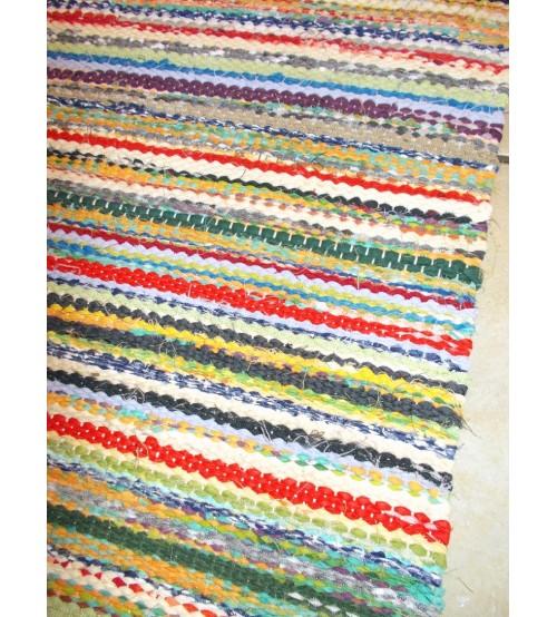 Vászon rongyszőnyeg színes 75 x 160 cm