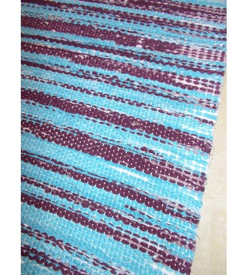 Vászon rongyszőnyeg kék, lila 80 x 180 cm