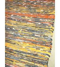 Vászon rongyszőnyeg sárga, szürke 75 x 165 cm