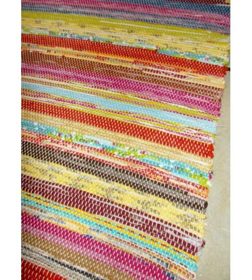 Vászon rongyszőnyeg színes 60 x 110 cm