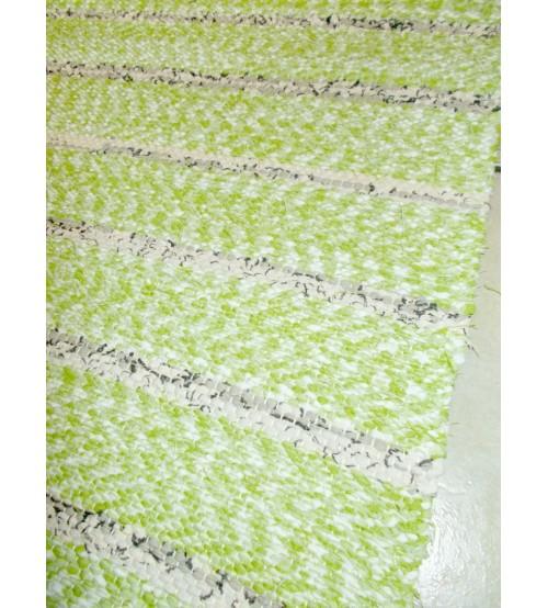 Vászon rongyszőnyeg zöld, barna 65 x 115 cm