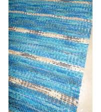 Vászon rongyszőnyeg kék, barna 75 x 95 cm
