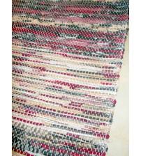Vászon rongyszőnyeg szürke, bordó, barna 70 x 100 cm