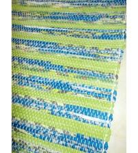 Vászon rongyszőnyeg zöld, kék 70 x 100 cm