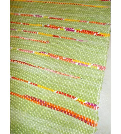 Vászon rongyszőnyeg zöld, piros, sárga 70 x 100 cm