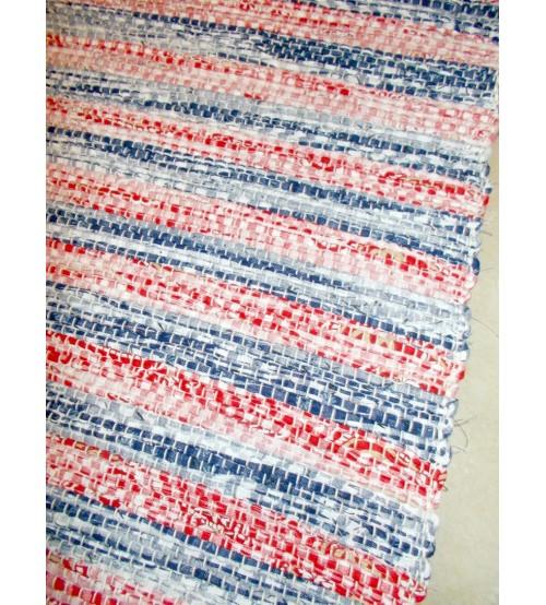 Vászon rongyszőnyeg piros, kék 70 x 100 cm