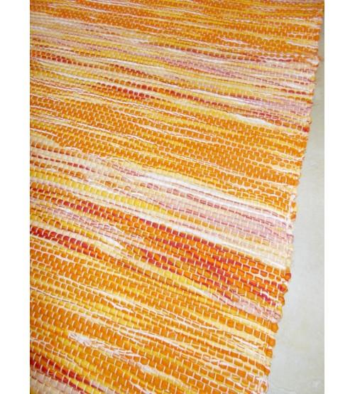 Vászon rongyszőnyeg sárga 70 x 150 cm