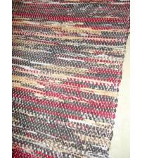 Vászon rongyszőnyeg bordó, barna, szürke 70 x 150 cm