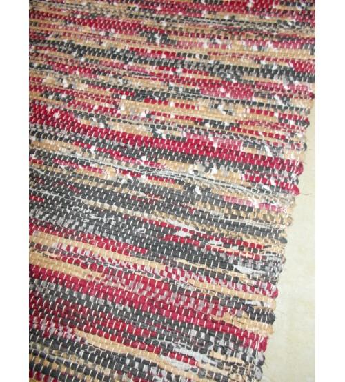Vászon rongyszőnyeg bordó, szürke, barna  70 x 150 cm
