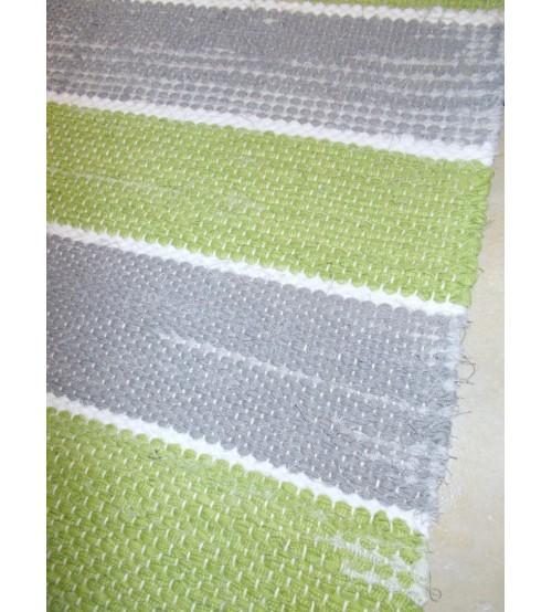 Vászon rongyszőnyeg zöld, szürke 70 x 160 cm