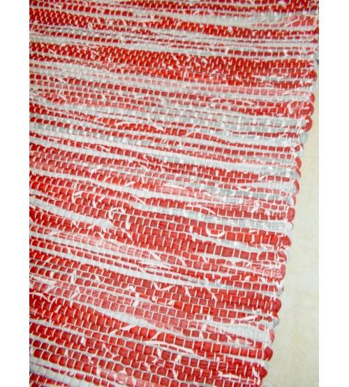 Vászon rongyszőnyeg bordó, szürke 70 x 200 cm