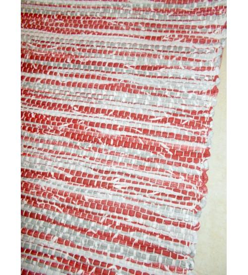Vászon rongyszőnyeg szürke, bordó 70 x 200 cm