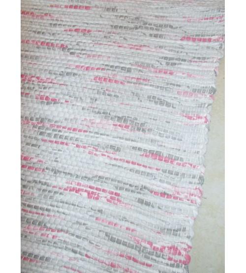 Vászon rongyszőnyeg szürke, rózsaszín 70 x 200 cm