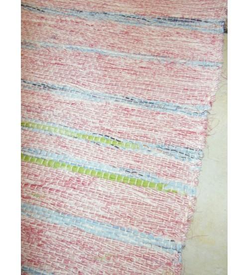 Vászon rongyszőnyeg rózsaszín, kék, zöld 70 x 100 cm