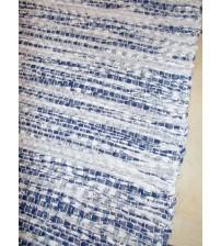 Vászon rongyszőnyeg kék, fehér 70 x 100 cm