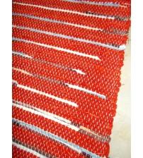Vászon rongyszőnyeg piros, kék, barna 70 x 100 cm