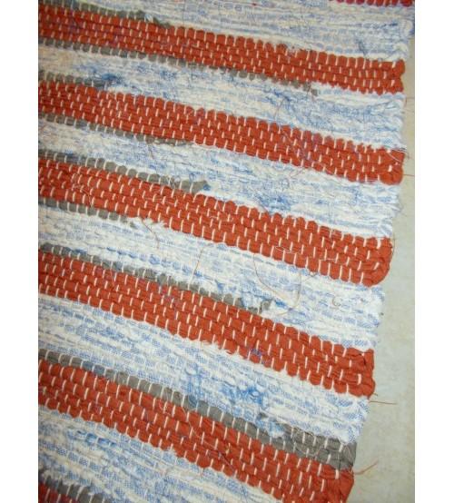 Vászon rongyszőnyeg barna, kék, szürke 70 x 150 cm