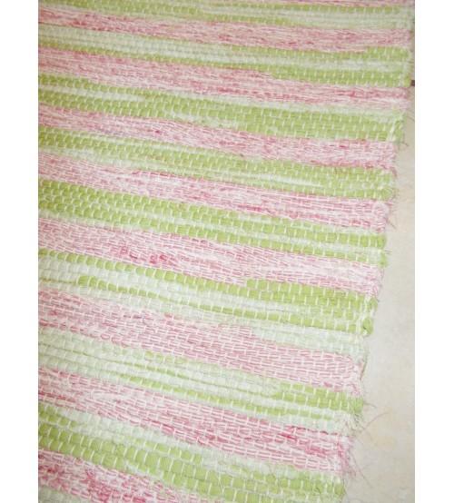 Vászon rongyszőnyeg rózsaszín, zöld 70 x 150 cm
