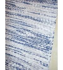 Vászon rongyszőnyeg kék, fehér 70 x 200 cm
