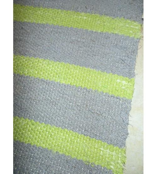 Vászon rongyszőnyeg szürke, zöld 70 x 170 cm