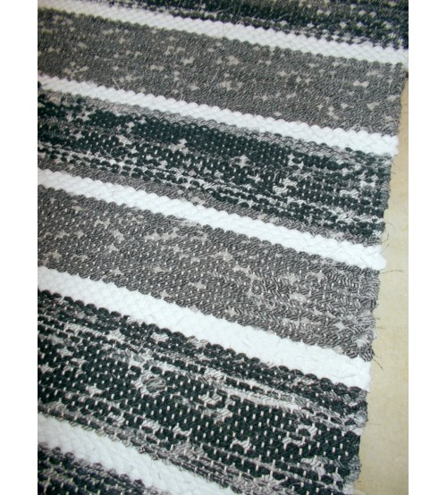 Vászon rongyszőnyeg szürke, fehér 65 x 190 cm