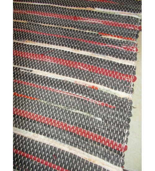 Vászon rongyszőnyeg szürke, bordó, nyers 70 x 100 cm