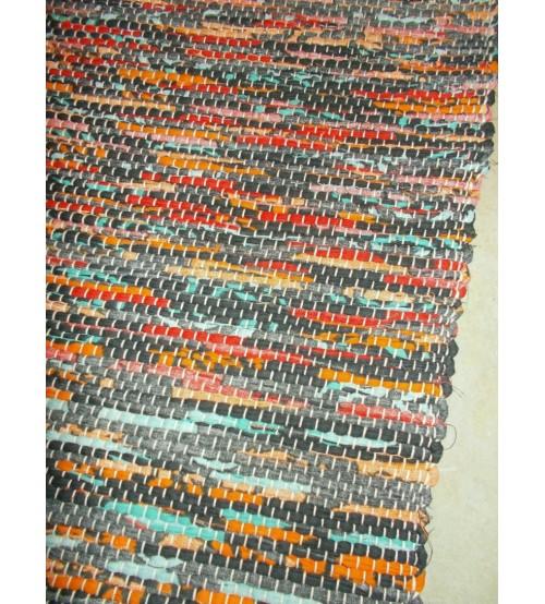 Vászon rongyszőnyeg szürke, piros, kék 70 x 100 cm