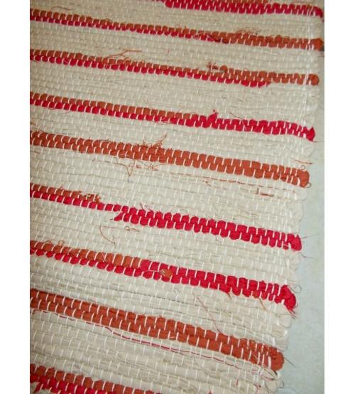 Vászon rongyszőnyeg barna, piros 70 x 100 cm