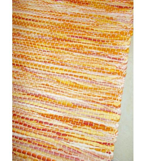 Vászon rongyszőnyeg sárga 70 x 130 cm