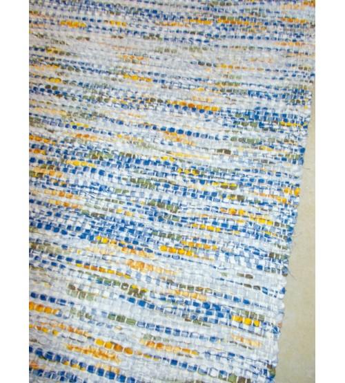 Vászon rongyszőnyeg kék, sárga, fehér 70 x 100 cm
