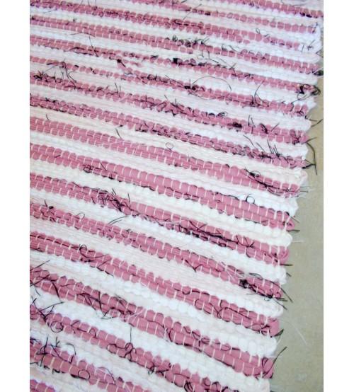 Vászon rongyszőnyeg rózsaszín, fehér 70 x 150 cm