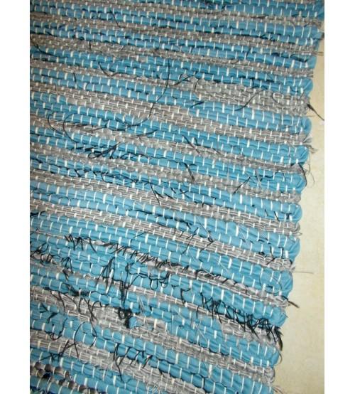 Vászon rongyszőnyeg kék, szürke 70 x 150 cm