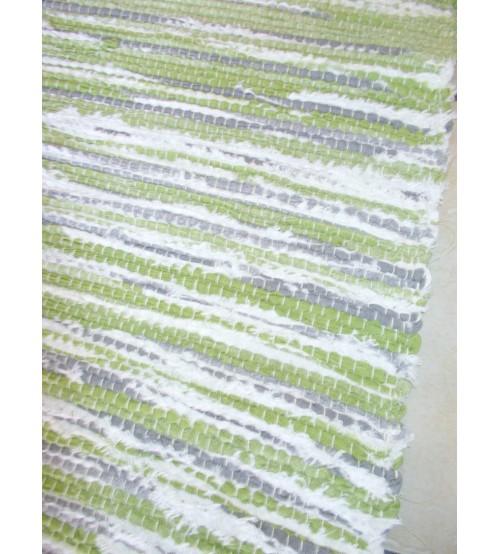 Vászon rongyszőnyeg zöld, fehér, szürke 70 x 175 cm