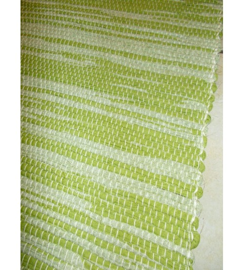 Vászon rongyszőnyeg zöld, fehér 70 x 100 cm