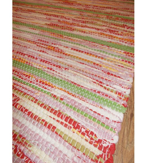 Vászon rongyszőnyeg piros, zöld 75 x 110 cm