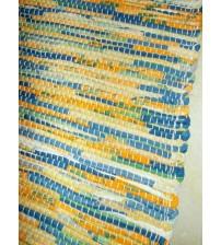 Vászon rongyszőnyeg sárga, kék, zöld 70 x 150 cm
