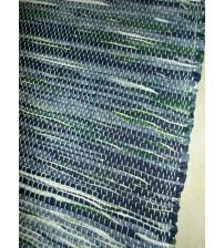 Vászon rongyszőnyeg kék, zöld 70 x 150 cm