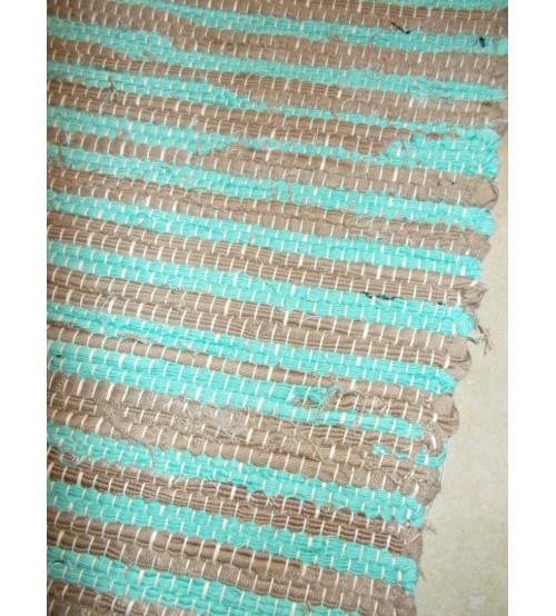 Vászon rongyszőnyeg kék, barna 70 x 150 cm
