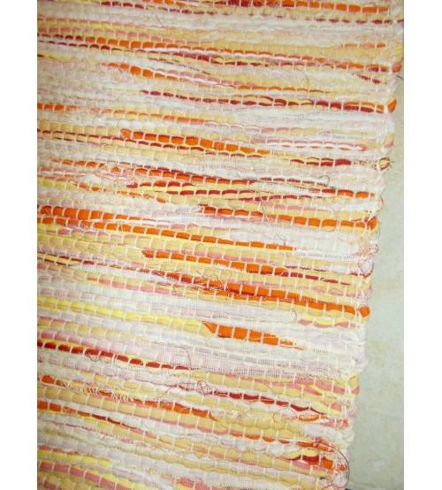 Vászon rongyszőnyeg sárga, piros 70 x 200 cm