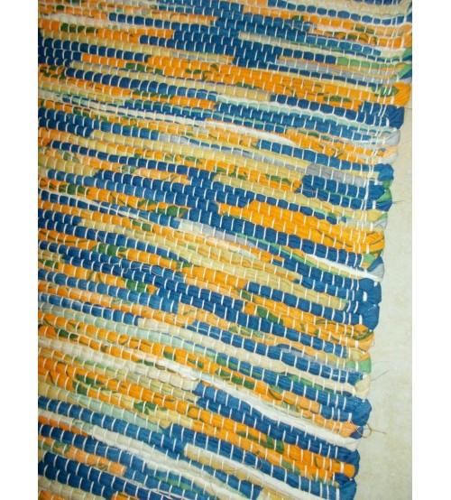 Vászon rongyszőnyeg sárga, kék, zöld 70 x 200 cm