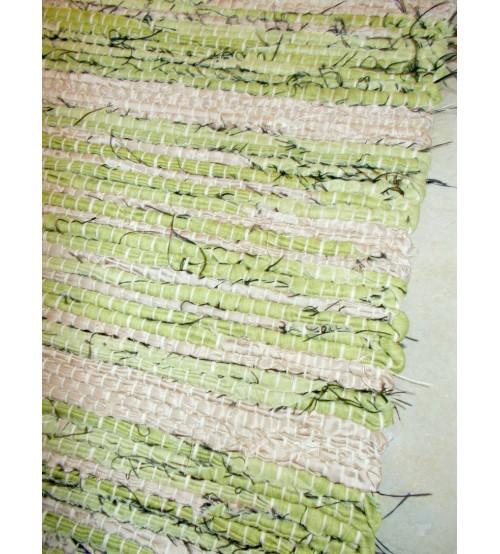Vászon rongyszőnyeg zöld, barna 70 x 100 cm