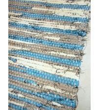 Vászon rongyszőnyeg kék, sárga, barna 70 x 150 cm