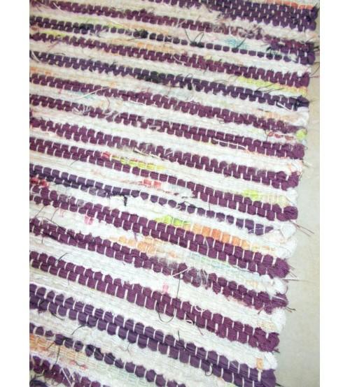 Vászon rongyszőnyeg lila, nyers 70 x 150 cm
