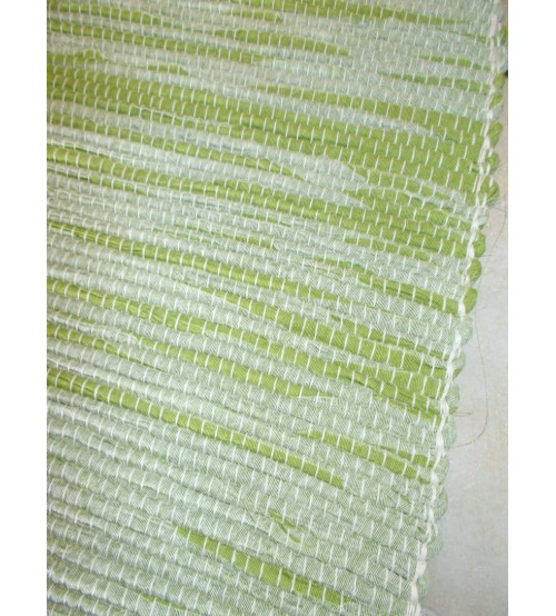 Vászon rongyszőnyeg zöld, fehér 70 x 150 cm
