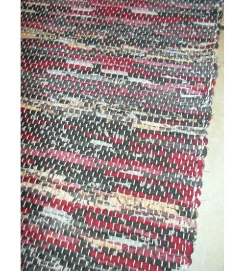 Vászon rongyszőnyeg bordó, szürke, barna 70 x 200 cm