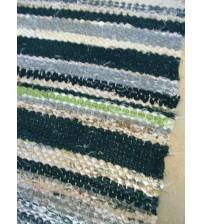Vászon rongyszőnyeg szürke, zöld, nyers 75 x 105 cm