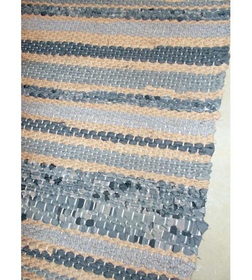 Vászon rongyszőnyeg szürke, barna 75 x 140 cm