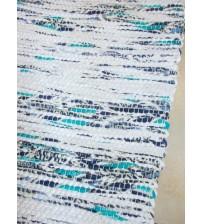Póló rongyszőnyeg fehér, kék 70 x 150 cm