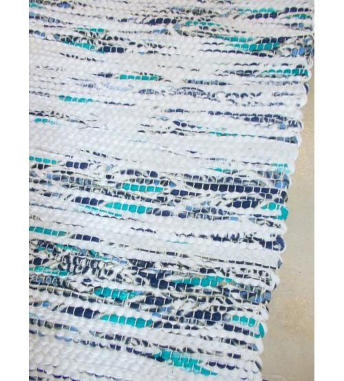 Vászon rongyszőnyeg fehér, kék 70 x 150 cm