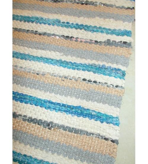Vászon rongyszőnyeg nyers, barna, kék, szürke 75 x 155 cm